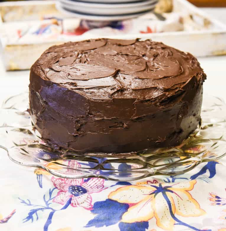 Easy Chocolate Cake - Egg Free Cake shown iced and ready to eat