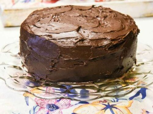 Easy Chocolate Cake - Egg Free Cake shown ready to eat