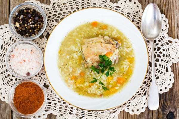 Turkey Soup Recipe shown from overhead