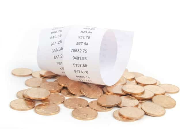 receipt and coins