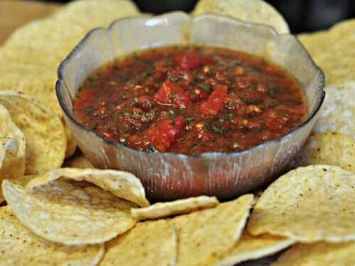 easy homemade salsa in a small glass bowl
