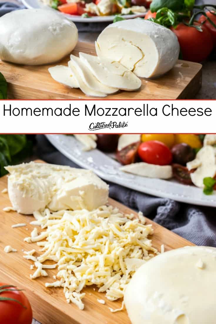 Homemade Mozzarella Cheese shown sliced on wooden cutting board and also grated with salad in the background