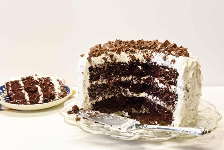 Chocolate Candy Bar Cake sliced showing the layers