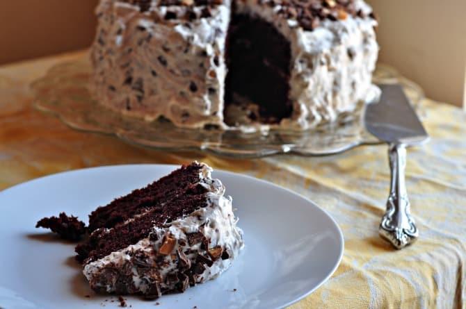 chocolate candy bar cake sliced