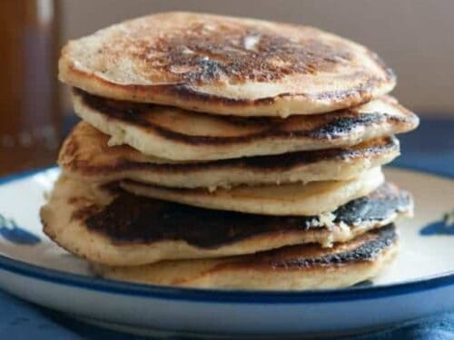 Whole Wheat Pancakes shown on plate in a stack