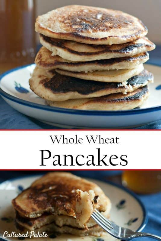 Whole Wheat Pancakes shown on plate stacked and a bite on a fork
