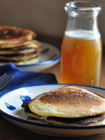 pancakes with pancake syrup on top