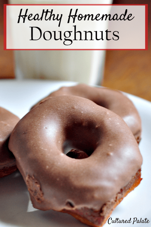 Homemade Doughnuts - Healthy Doughnuts shown on a plate with milk