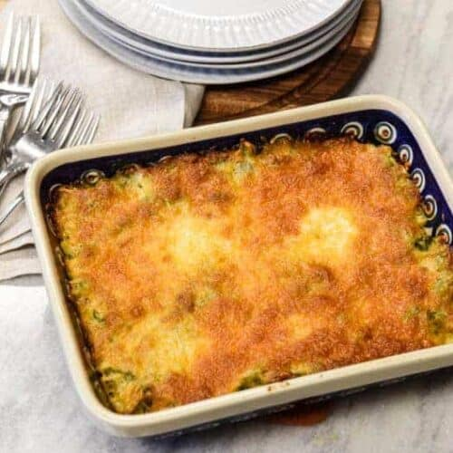 Easy Broccoli Casserole shown right from the oven ready to eat