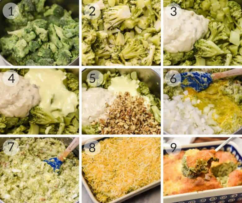 Photo tutorial showing the steps of Easy Broccoli Casserole