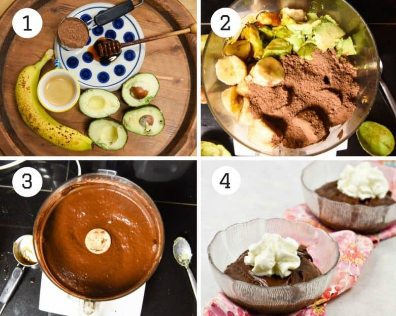 Chocolate Avocado Pudding - 4 Steps shown to make the recipe