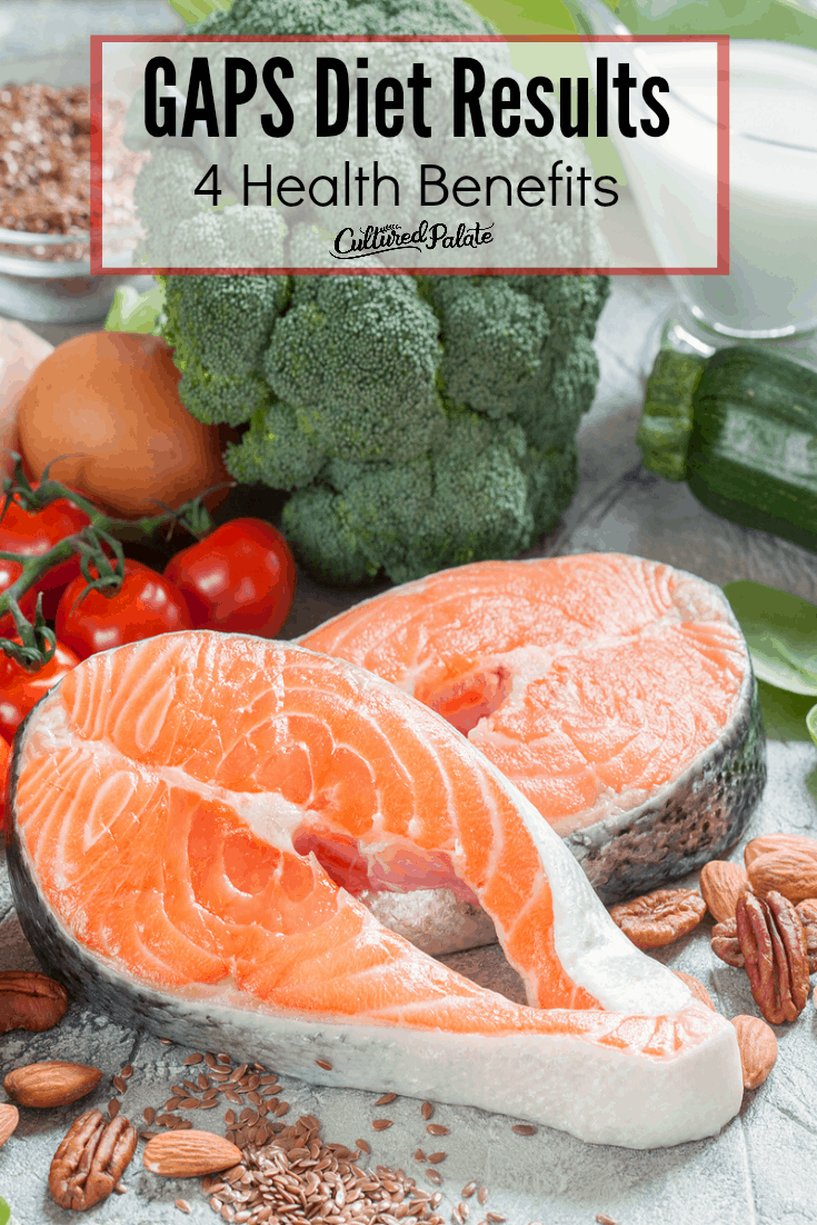 Fresh fruits, veggies and fish shown from the post GAPS Diet Results - 4 Benefits.