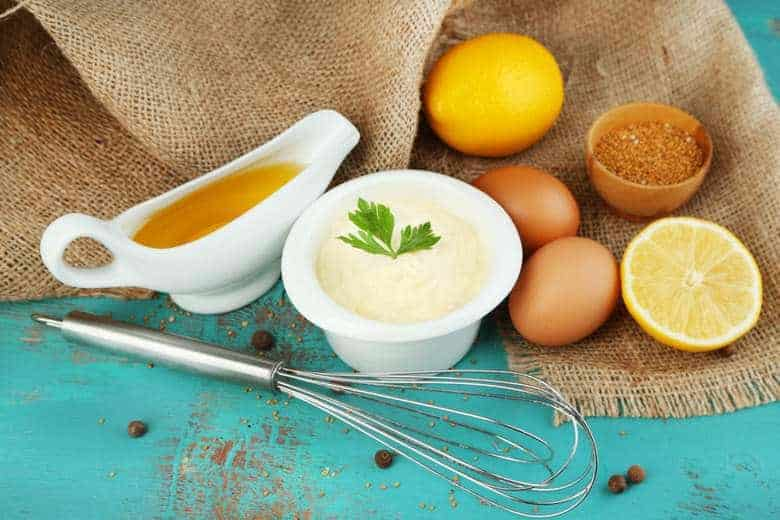 A photo of all ingredients to make homemade mayonnaise