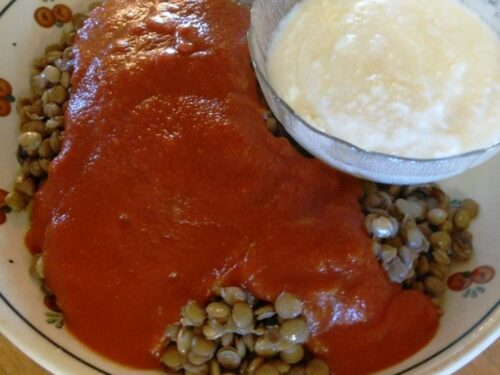 A close up of Egyptian lentils topped with tomato sauce