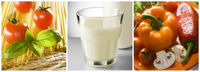 Healthy foods shown to include when getting off the GAPS diet - milk and veggies.