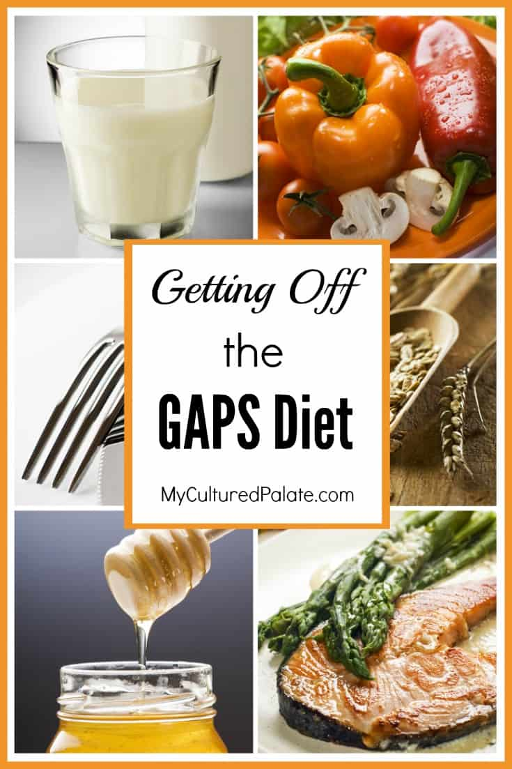 Foods that can be eaten when getting off the GAPS diet in collage with text overlay.