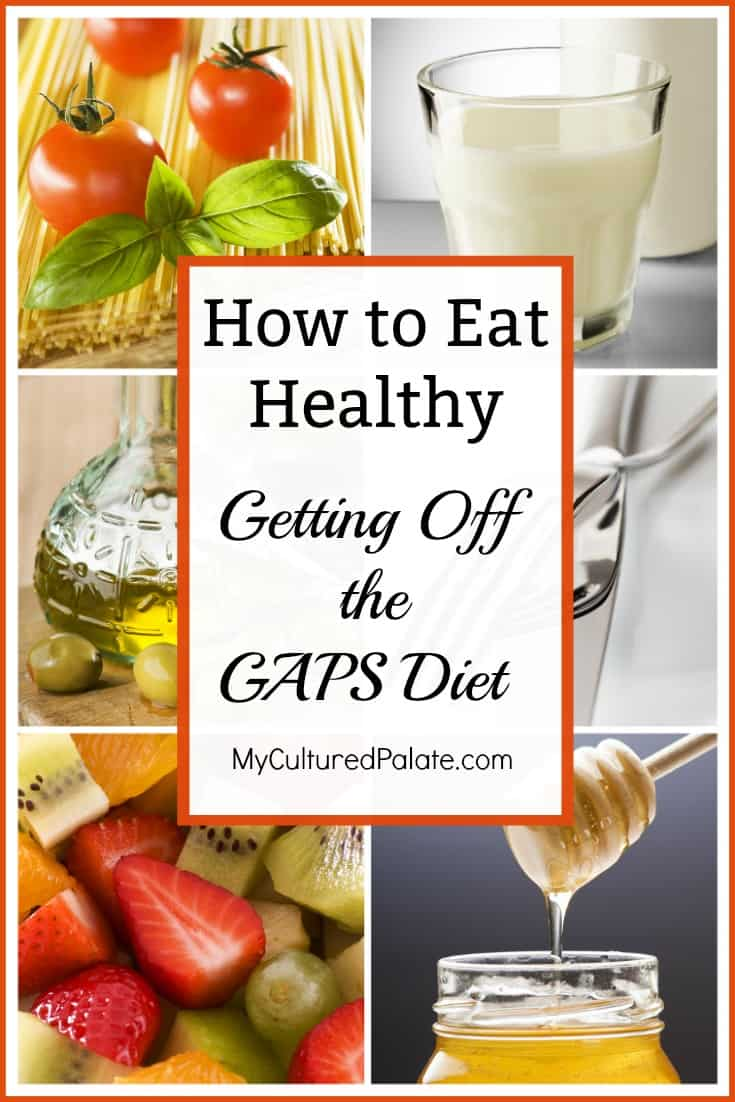 Six healthy foods shown that can be eaten when getting of the GAPS diet with text overlay.