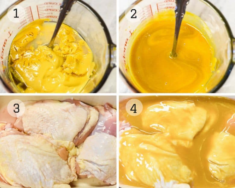 Photo tutorial showing the steps for making grilled chicken marinaded according to the recipe given