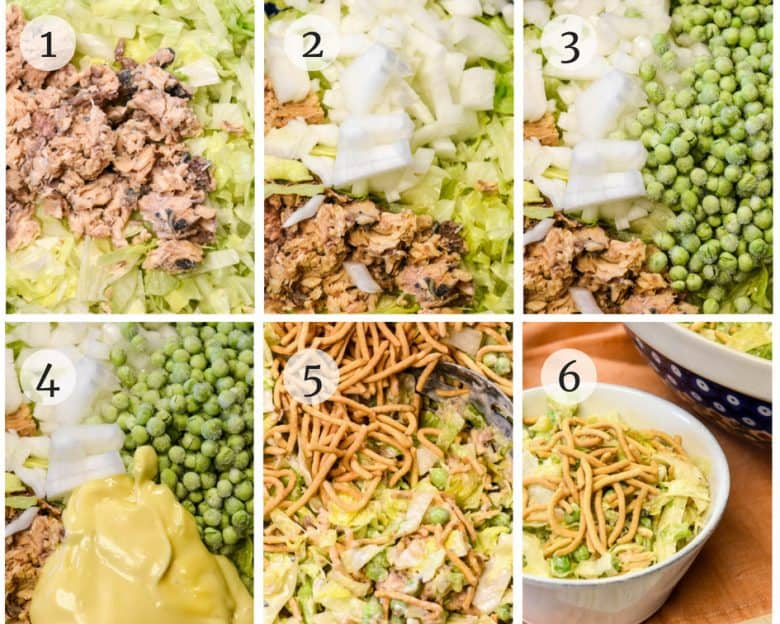 Photo tutorial of the steps to make Tuna Pea Salad - Summer Salad Recipe