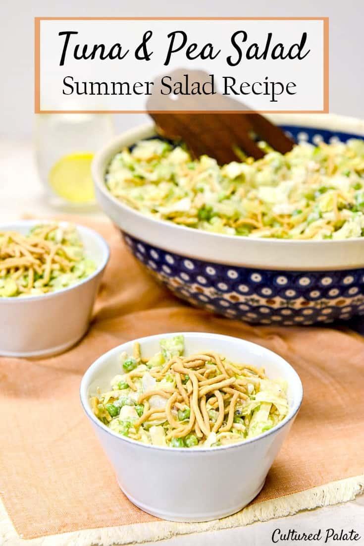 Tuna & Pea Salad is a delicious summer salad recipe that takes tuna salad and pea salad a notch (or two) up! myculturedpalate.com #summersalad #summersaladrecipe #tunasalad #peasalad