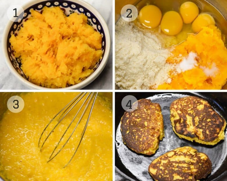 photos showing How to Make Butternut Squash or Paleo Pancakes Step by Step