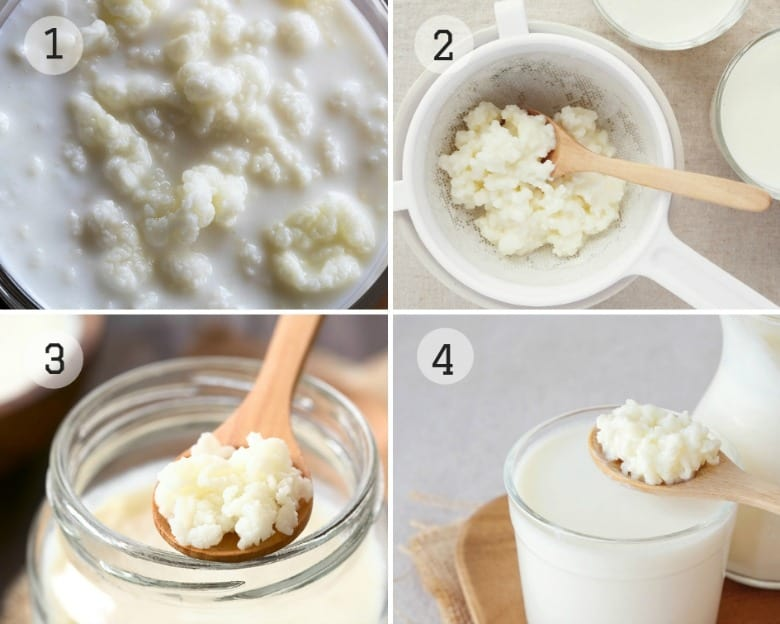 The steps for how to make kefir from the kefir recipe given shown in four images.