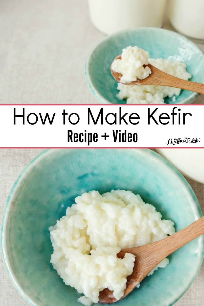 Kefir Recipe shown made in a bowl from overhead and side view with text overlay.