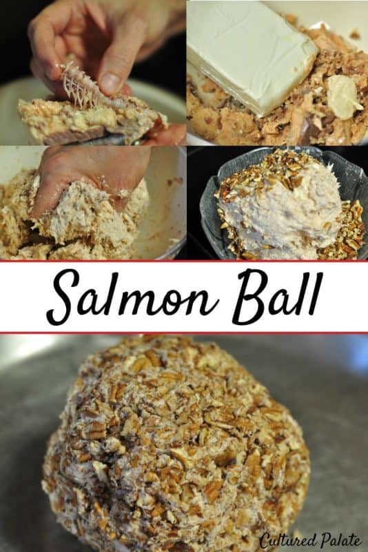 Salmon Ball shown being made step by step