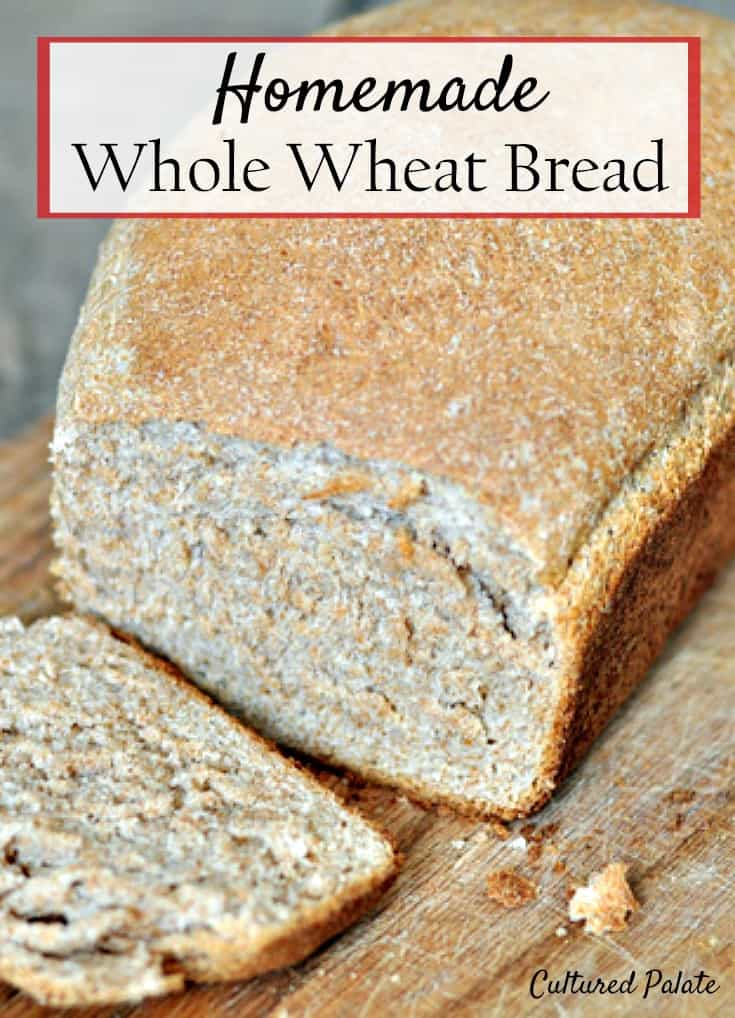 Whole Wheat Bread. A healthy and easy whole wheat bread recipe for homemade whole wheat bread. Serve hot with butter and honey for a delicious breakfast or snack. www.myculturedpalate.com #bread #wholewheat #healthyrecipes #breakfast