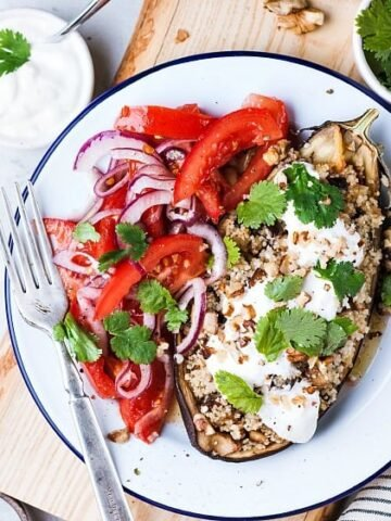 """paleo meal with tomatoes on a white plate with blue rim from the post """"What is the Paleo Diet""""."""