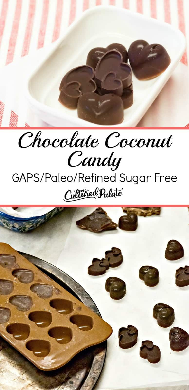 Chocolate Coconut Candy shown in molds, bowl, table with text overlay