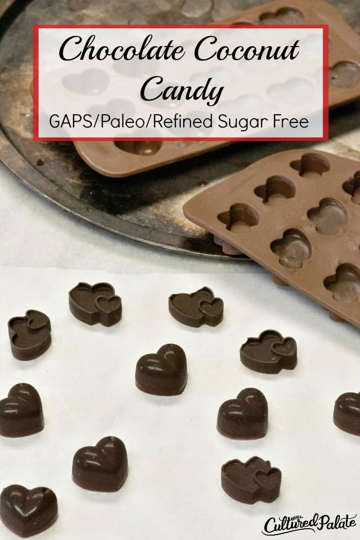 Chocolate Coconut shapes of candy shown in molds and on parchment paper with text overlay.