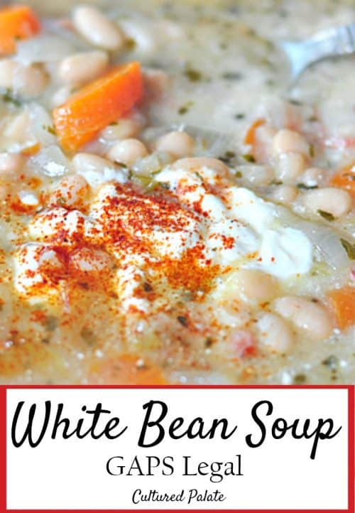 Close-up of Mexican White Bean Soup with post title