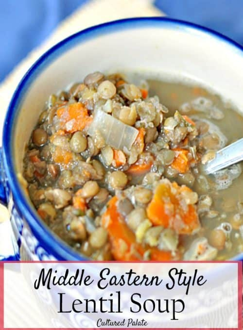 Middle Eastern Lentil Soup Recipe shown in bowl with post title