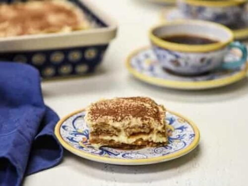 piece of easy tiramisu recipe cut on plate and ready to eat