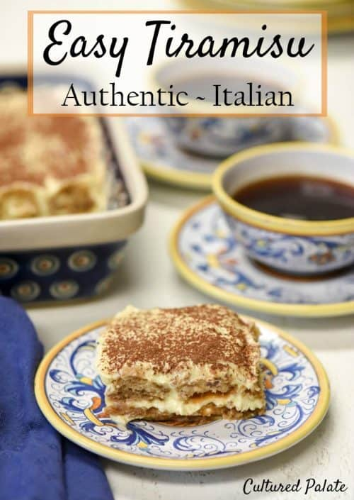 a piece of easy tiramisu recipe cut with coffee in the background and title on photo