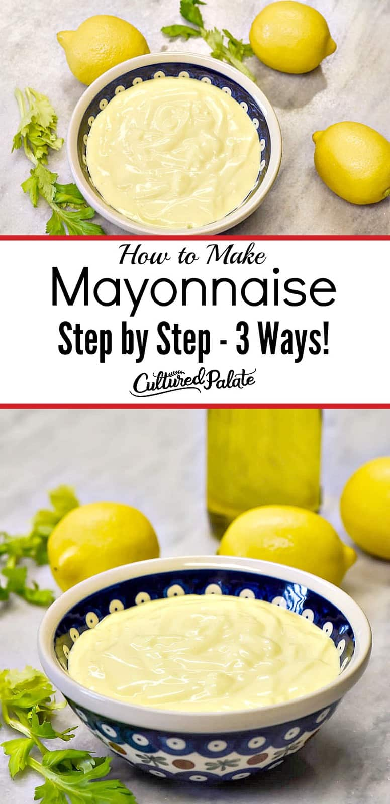 Homemade Mayonnaise recipe shown from above and the side in two images in blue bowl with text overlay.