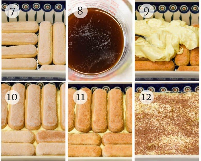 photo tutorial of easy tiramisu recipe steps 7 - 12