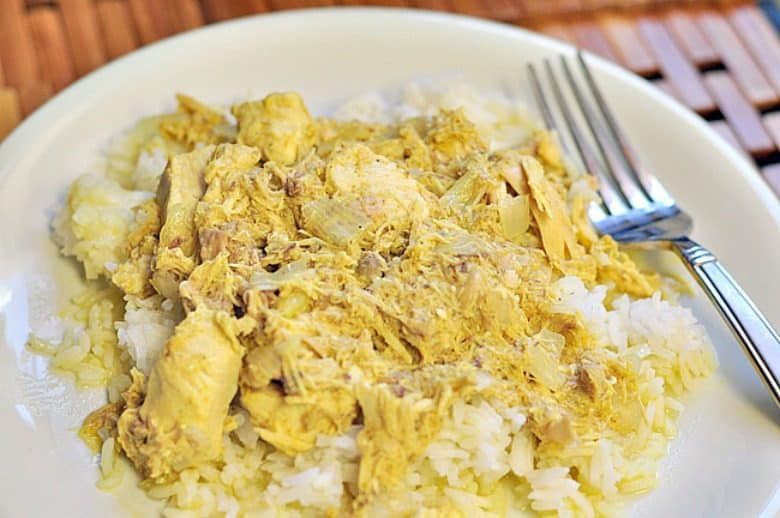 Easy Chicken Curry shown on plate with rice