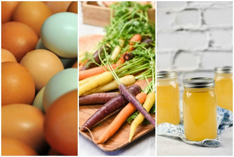 Eggs, carrots and bone broth shown in collage from How to Eat Healthy for Healthy Living.