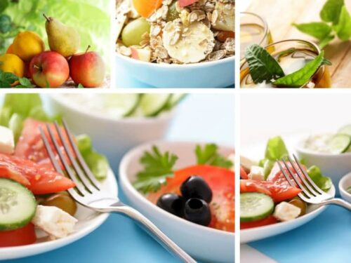 Healthy eating shown in four images form the post Learning to Cook Healthy