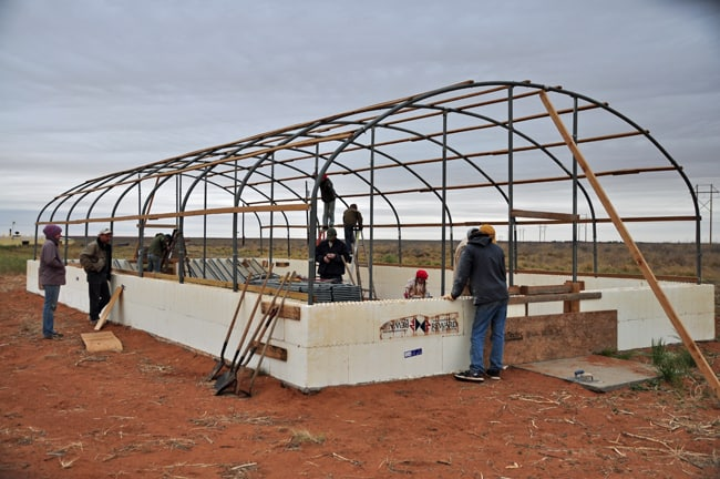 greenhouse hoops up ready to pour