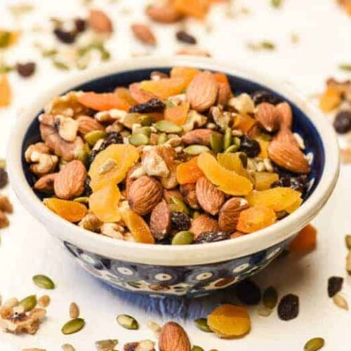 Homemade Trail Mix shown in bowl - an Easy Snack Recipe