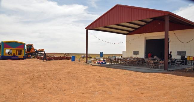 barn and bouncy house