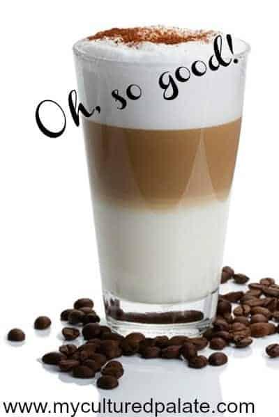 latte macchiato with cocoa powder