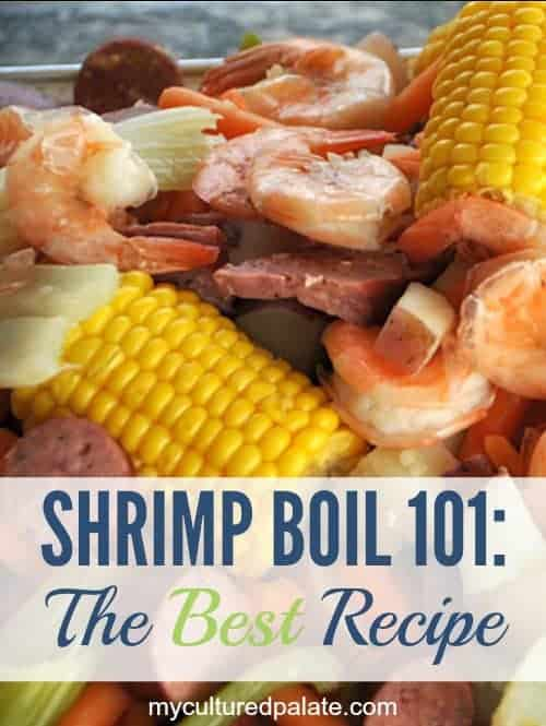 A close up of shrimp boil with text for the best recipe underneath