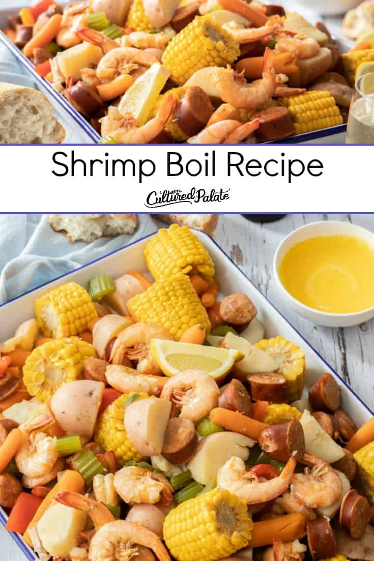 Low country boil recipe shown close up and from overhead with text overlay.