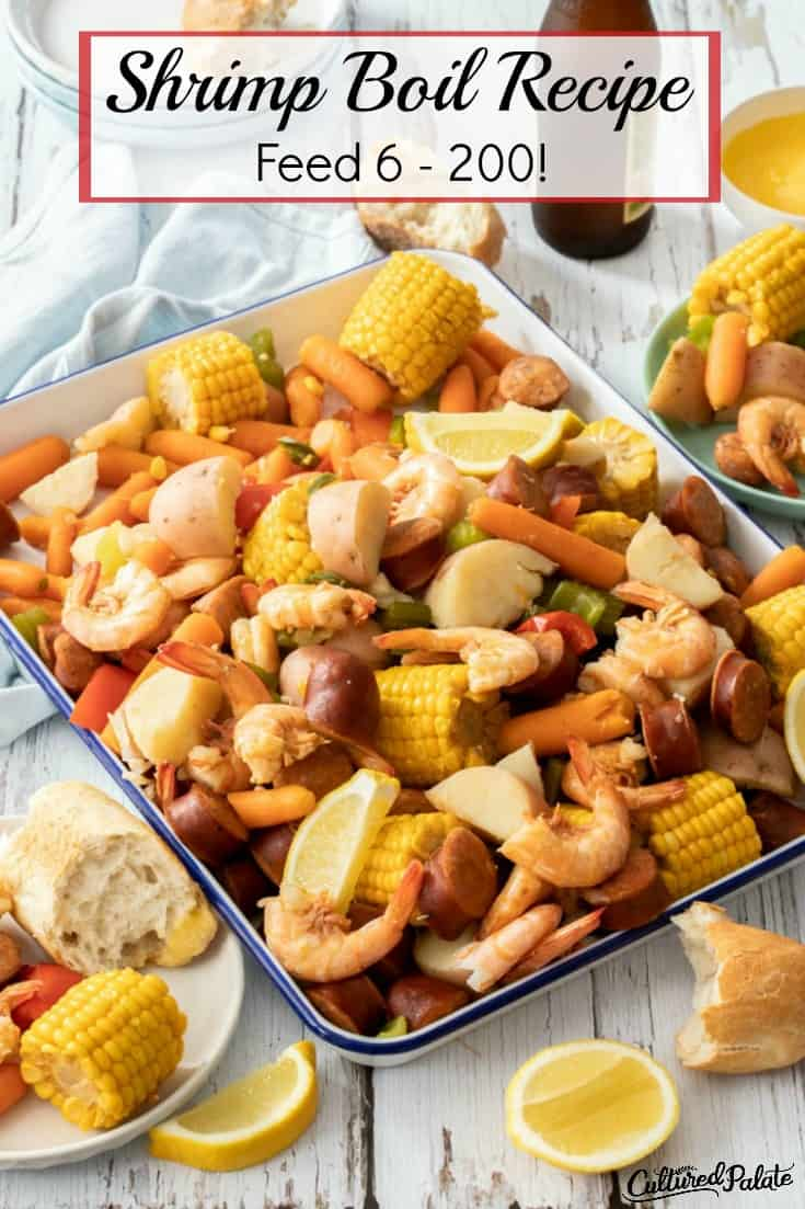Shrimp boil made ready to eat with text overlay.