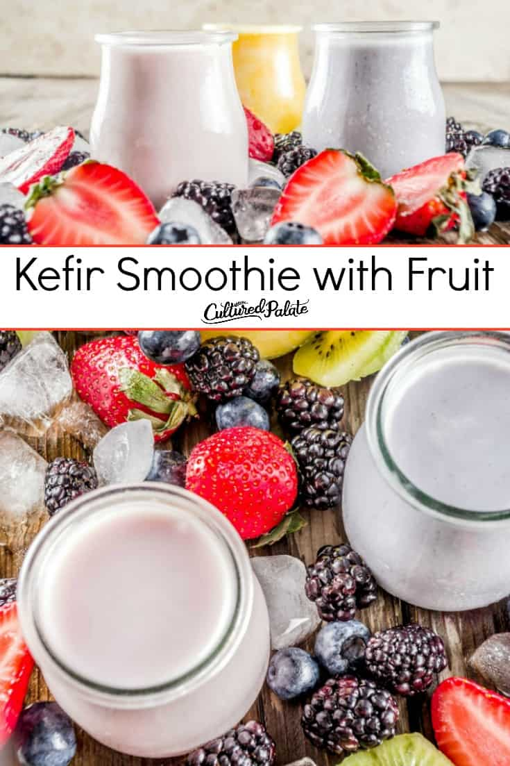 Two images with text overlay of probiotic kefir smoothie with berries around in glass jars.