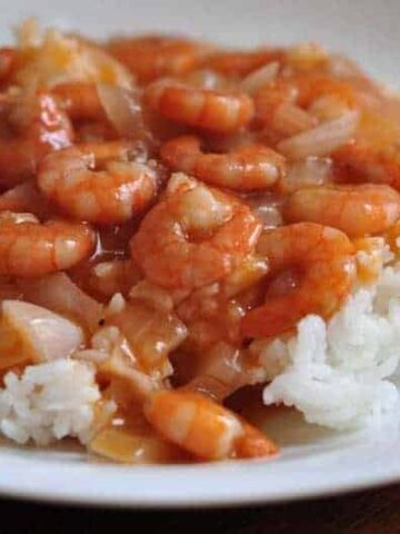Chinese Stir Fry Shrimp in tomato sauce with rice on a plate